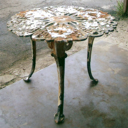 Rusted  corroded table  sandblasted to look good as new. Stratford Sandblasting